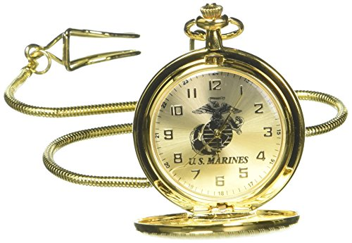 Aqua Force Marines Gold Metal Pocket Watch with 45mm Face and (Face Gold Metal)