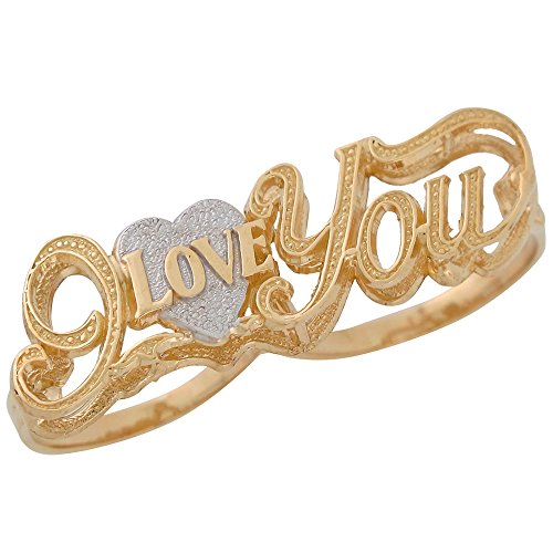 10k Two-Tone Gold Ladies I Love You Cute Two Finger Ring with Heart by Jewelry Liquidation