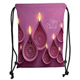 Custom Printed Drawstring Sack Backpacks Bags,Diwali Decor,Paisley Design Burning Candles for Religious Festive Celebration Carvings,Purple Pink Soft Satin,5 Liter Capacity,Adjustable String Closure,T