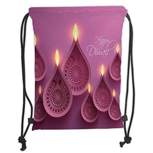 Custom Printed Drawstring Sack Backpacks Bags,Diwali Decor,Paisley Design Burning Candles for Religious Festive Celebration Carvings,Purple Pink Soft Satin,5 Liter Capacity,Adjustable String Closure,T by iPrint