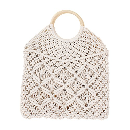 Straw Knitted Rattan Handbag Everyday Lady Square Bag Beach Bag Travel and White for Handmade Straw Shoulder Retro Use White Qinlee 5AqRp