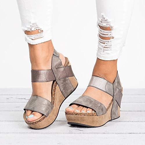 - Women's Wedge Sandal Open Toe Stretch Strappy Chunky Cork Comfortable Sole Platform Wedge Sandals Grey
