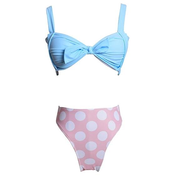 6ca63771b82 Amazon.com  Nafanio Girl s Cute Swimsuits High Waist Halter Strap Push up  Bikini  Clothing