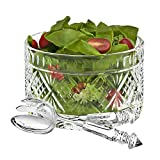 Set of 3 High Quality Crystal Clear Salad Bowl Serving Set, Salad Serving Utensils Included Large Serving Dish,