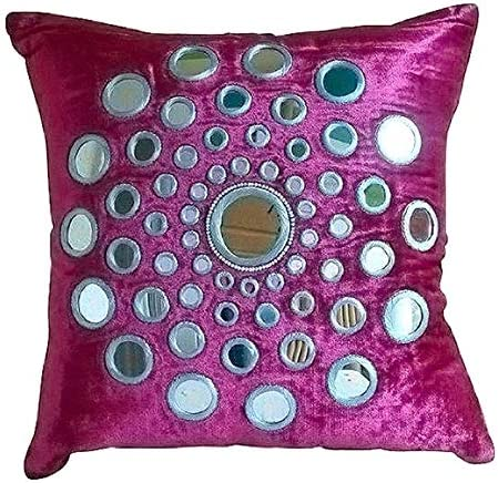 The HomeCentric Luxury Fuchsia Pink European Shams 26×26 inch 65×65 cm , Velvet Euro Pillow Shams, Circles Dots, Mirror, Contemporary European Sham Covers – Circle of Images