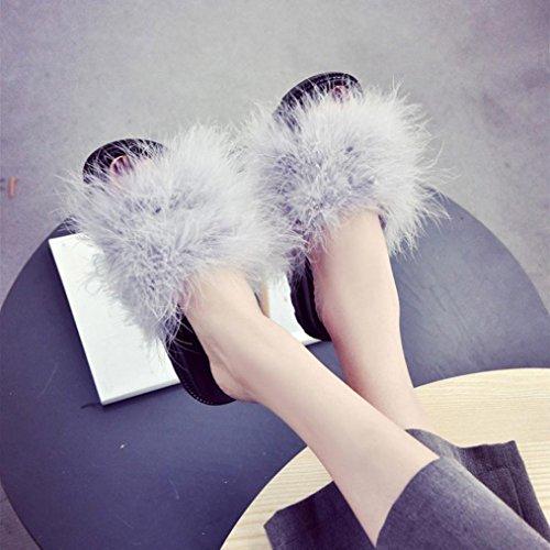 Gbsell Mode Vrouwen Thuis Casual Pluizige Konijnenbont Platte Slipper Sandaal Schoenen (5.5, Paars) Grijs
