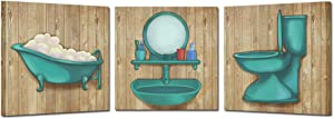 Kreative Arts Bathroom Canvas Wall Art Prints Teal Blue Toilet Tub Dressing Table Wall Decor Rustic Paintings Posters Great Gift Home Artwork Framed Ready to Hang (12x12inchx3pcs)