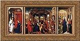 Saint Columba Altarpiece 24x12 Gold Ornate Wood Framed Canvas Art by Rogier van der Weyden