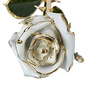 FYYDNZA Valentine'S Day Gilt Paint Rose,White Rose 90