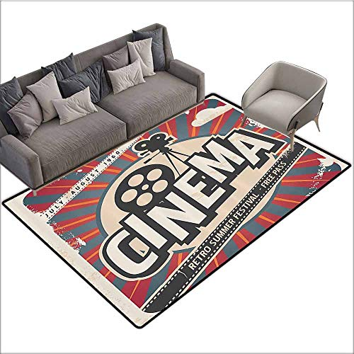 Dining Table Rugs Vintage Decor,Retro Cinema Movie Vintage Paper Texture Hollywood Stars Decorative Design,Beige Amber Charcoal Grey 64