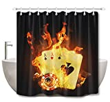LB Poker Cards Chips in Fire Shower Curtain Set, Casino Themed Design Bathroom Decor, 70'' x 70'' Shower Curtain Set Waterproof Mold Resistant