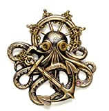 Steampunk Pin, Octopus Steampunk Hat Pin, Steampunk Octopus Brooch, Kraken Cthulhu in Steampunk Goggles, Steampunk Pirate, Steam Punk, Steampunk Jewelry