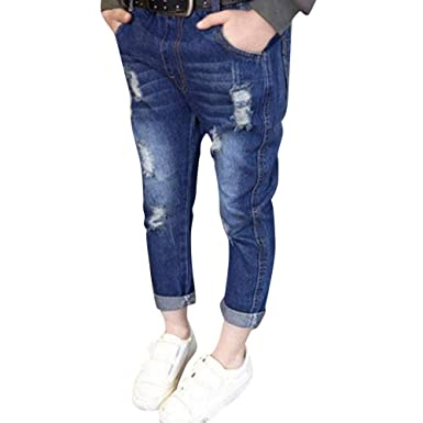 18c9d0d3 Teen Kids Toddler Baby Girls Boys Stylish Holes Denim Trousers for 1-6  Years Kids