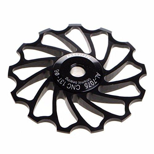 (GBSELL 13T MTB Ceramic Bearing Jockey Wheel Pulley Road Bike Bicycle Rear Derailleur (Black))
