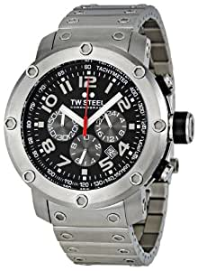 TW Steel TW126 - Reloj cronógrafo de cuarzo unisex con correa de acero inoxidable, color plateado