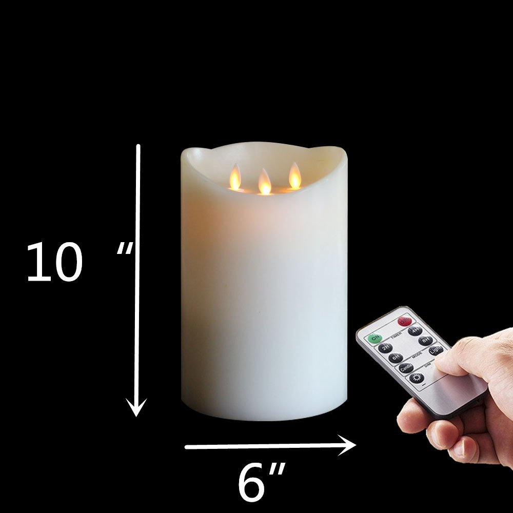 REMOTE 6''x10'' Inch 3-wicks Pillar Wax Flameless Candle , Ivory 1pcs by NONNO&ZGF