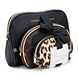 Adrienne Vittadini Cosmetic Makeup Bags: Compact Travel Toiletry Bag Set in Small, Medium and Large for Women and Girls - Black and Brown Leopard
