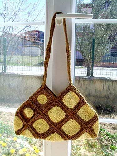 shopping bag Handmade tote bag Grey crochet handbag Special  for summer Crochet granny squares bag Shoulder bag Unique crochet bag