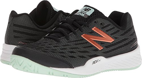 New Balance Women's 896v2 Tennis Shoe, Black/Seafoam, 5.5 B US