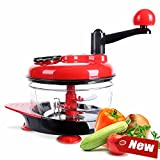 1.5L Manual Hand Crank Food Chopper W/ Stainless Steel Blades speediness Chop Fruits,Meat, Onions, Garlic, Salad,Vegetables(Red)
