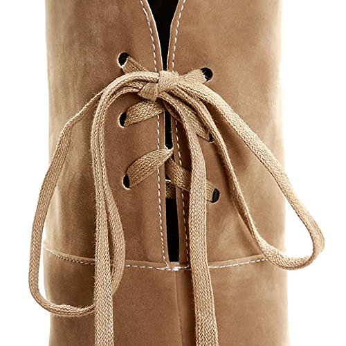 Beige Wedding Materail with SJJH Thin Knee and Over Heel Women and Size Party Large Boots Nubuck for qIwwPaFxY