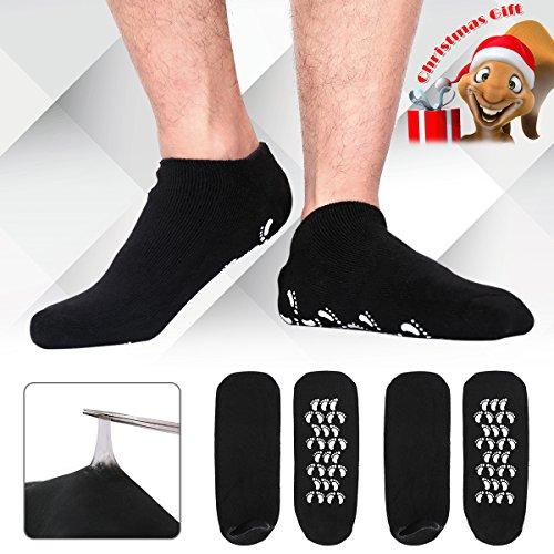 Christmas Gifts for Men, Happon Large Mens Moisturizing Gel Socks Mens Feet Care Ultimate Treatment for Dry Cracked Rough Skin on Feet Pack of 2 Pairs Black US Men 10-15