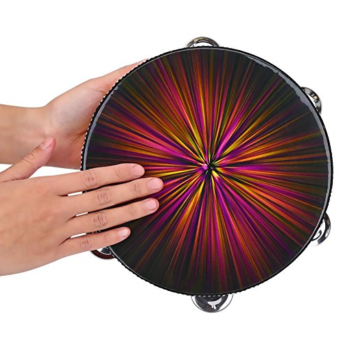 Handheld Tambourine, Wood Drum Bell Metal Jingles Percussion Music Toy for Kids Children(B) by VGEBY (Image #3)