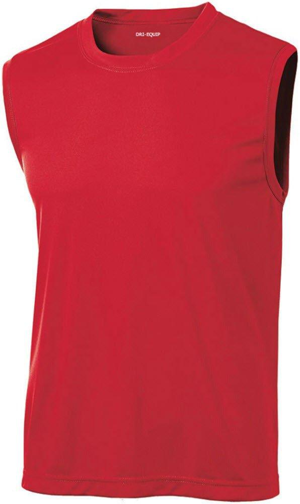 DRI-EQUIP(tm) Mens Sleeveless Moisture Wicking Muscle T-Shirt-Red-XL
