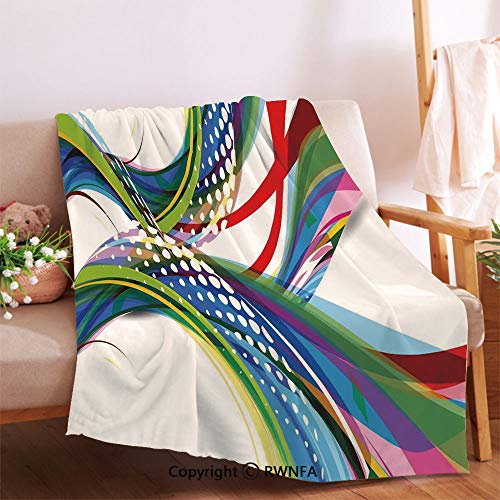 Active Sports Inspired Digital Wave Like Abstract and Ombre Vivid Modern Image Throw Blanket for Couch.Anti-Wrinkle Function, Suitable for Living Room Sofa(59