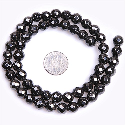 (Black Hematite Beads for Jewelry Making Natural Gemstone Semi Precious 8mm Round Faceted Magnetic 15