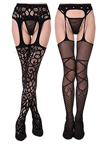 9fe24d8e1 Happyjiu Womens sexy Belt Thigh High Stocking Suspender Tights Garter  Fishnet Mesh Pantyhose (2-