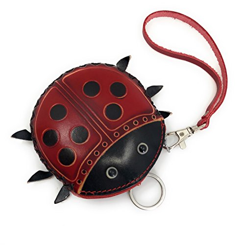 Wallet Coin Purse Zippered Handmade Leather Wristlet Gift (Ladybug Big) by Ella Sussman (Image #1)