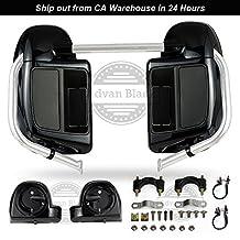 Advan Black Vivid/Glossy Black Lower Vented Leg Fairings Glove Box + 6.5 Speaker Pods for Harley Davidson Touring Street Glide Road King 2014 2015 2016 2017