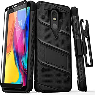 ZIZO Bolt Series for LG Stylo 5 Case Military Grade Drop Tested with Full Glass Screen Protector Holster and Kickstand Black Black