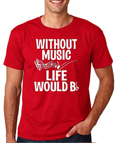 Mens Music T-shirts (Adult Without Music Life Would Be Flat T Shirt Large Red)