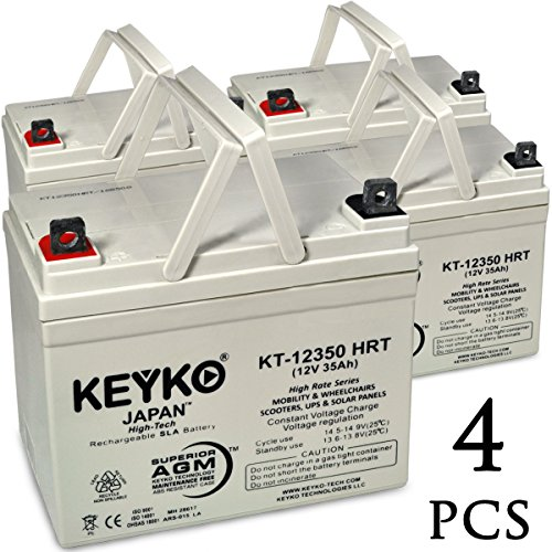 AAA Robo Chair Seguay 3000 12V 35Ah SLA / AGM Wheelchair Scooters and Mobility Deep Cycle AGM Rechargeable Replacement Battery Genuine KEYKO (W/ L2 Nut & Bolt Terminal) - 4 Pack by KEYKO