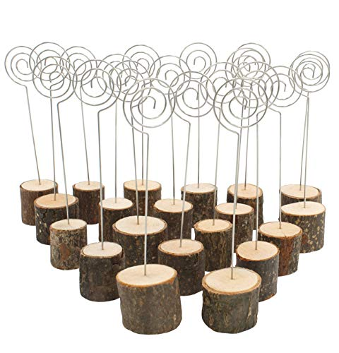 (Royal Brands (20 Pack) Rustic Real Wood Stump Base Wedding Table Name Number Holder Party Wedding Decoration Place Card Holders Picture Memo Note Photo Spiral Clip Holder Food Tags)