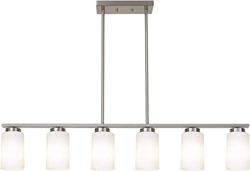 TODOLUZ 6 Lights Farmhouse Pendant Lighting Fixture with Opal White Cylinder Glass in Brushes Nickel for Kitchen Diving Room