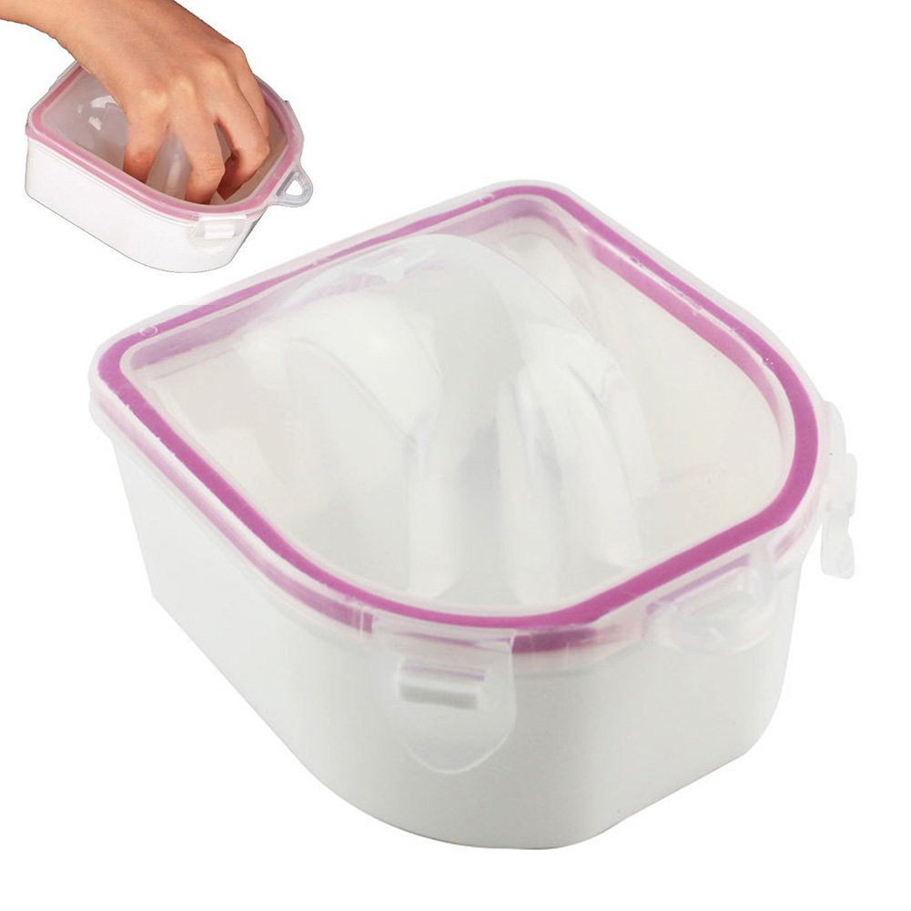 Nail SPA Manicure Nail Soak Bowl Finger Tips Soaking Container Plastic Manicure Treatment Tool Warm Water Soak OFF Bowl(pink and white) MOOUK