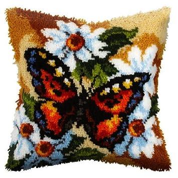Cojín de ganchillo de alfombra, diseño de mariposa delantera ...