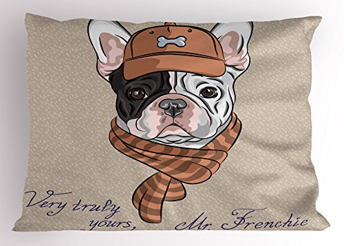 Ambesonne Vintage Pillow Sham, Funny Hipster French Bulldog with Cap and Lines Scarf Punk Animal Humor Art, Decorative Standard King Size Printed Pillowcase, 36 X 20 inches, Ecru Pink Brown by Ambesonne
