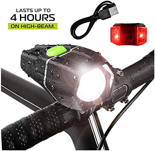 Bright Eyes – Ember 400 Lumens, Over 4 Hours on HIGH Beam 2600mAh Li I – w GoPro Compatible mounts 2 Options – USB Rechargeable Waterproof LED Bike Headlight with Free Tail Light – Super Bright