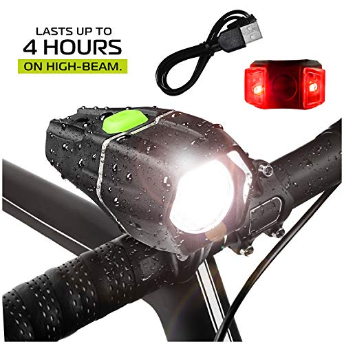 Bright Beam - Bright Eyes - Ember 400 Lumens, Over 4+ Hours on HIGH Beam (2600mAh Li I) - w/GoPro Compatible mounts (2 Options) - USB Rechargeable Waterproof LED Bike Headlight with Free Tail Light - Super Bright