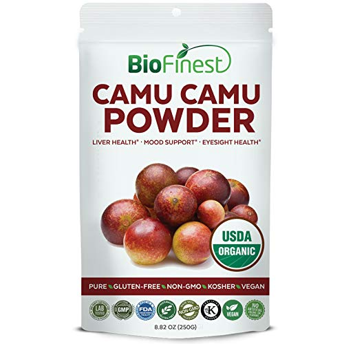 Biofinest Camu Camu Powder - USDA Certified Organic Pure Gluten-Free Non-GMO Kosher Vegan Friendly - Natural Vitamin C Supplement for Healthy Eyesight,Liver, Mood Support (250g)
