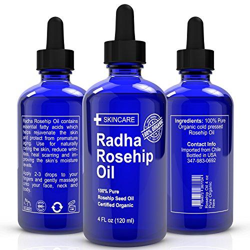 BIO Huile de Rose Musquée - ENORME 4 ONCE - 100% Pure Certified Organic - meilleur hydratant pour guérir la peau sèche, ridules, les vergetures, eczéma, cicatrices d'acné, & More! - Pressée à froid, non raffiné, Virgin Rose hip huile de graines Pour visag