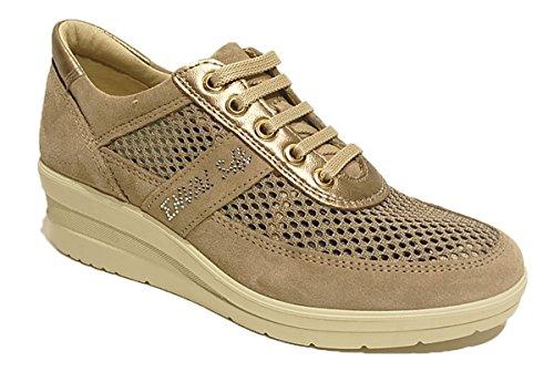 In Pelle Enval beige Italy Donna Sneaker Beige Visone Made Scarpa Soft 7957 0w1zc