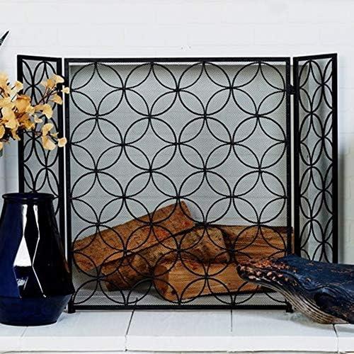 暖炉スクリーン 折り畳み 鉄 ブラック 暖炉スクリーン スパークガード 3パネル、 エクストラワイド 金網 安全暖炉の画面 木材および石炭の燃焼、ストーブ、グリル用 (Color : Black)