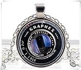 Vintage Black Old Camera Lens Silver Pendant Necklace Photographer Glass Design
