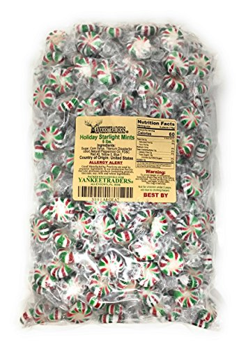 Christmas Red, Green & White Starlight Mints Hard Candy (Individually Wrapped) 5LB Bag