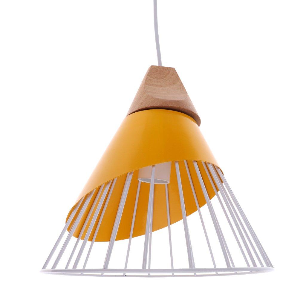 Homyl Abat-jour Suspension avec Ligne Lampe au Plafond Cage en Fer Lustre Décoration Chambre Salon Couloir Escalier - Blanc